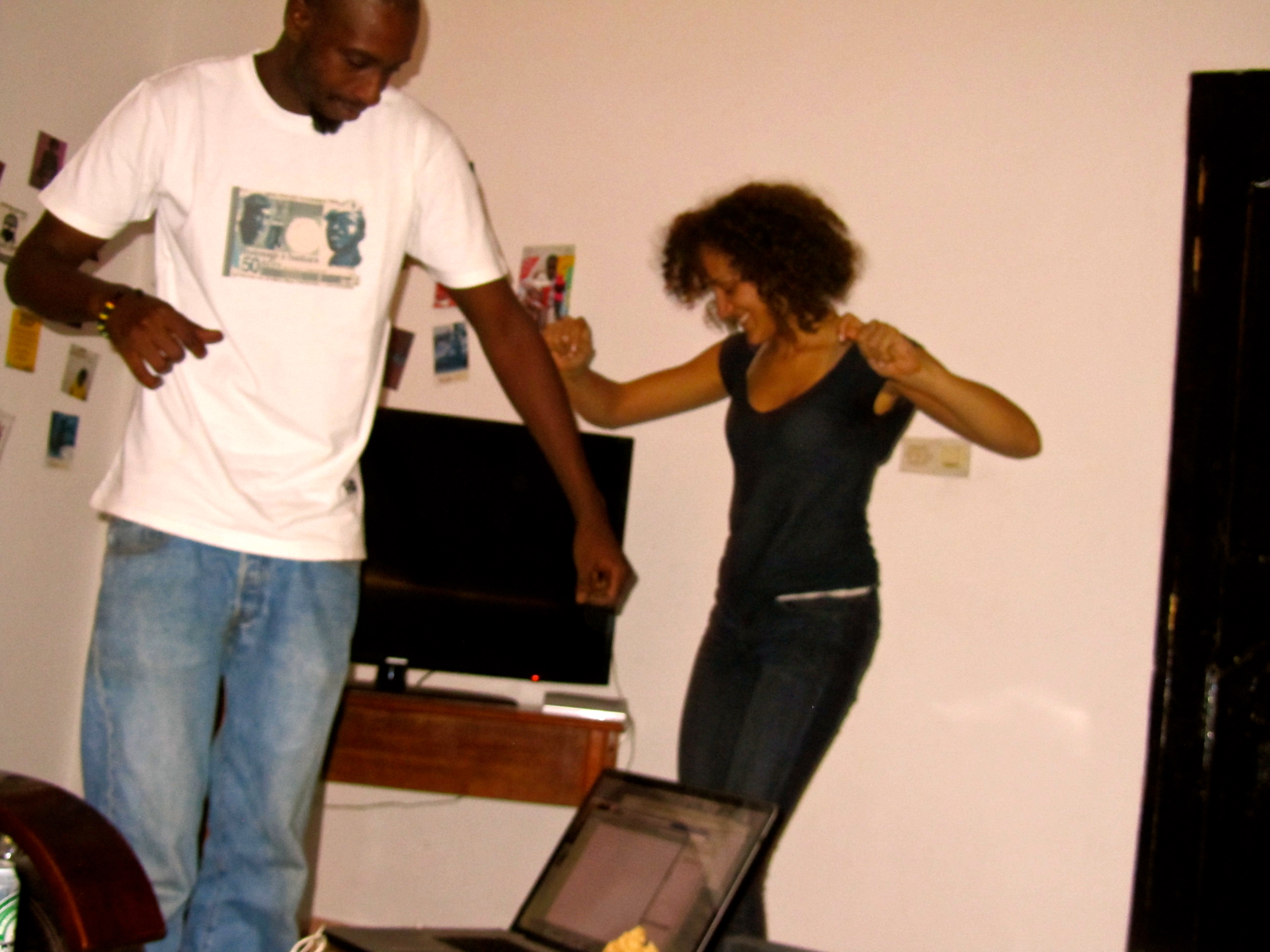 Tij (my roommate) and I dancing to reggae)