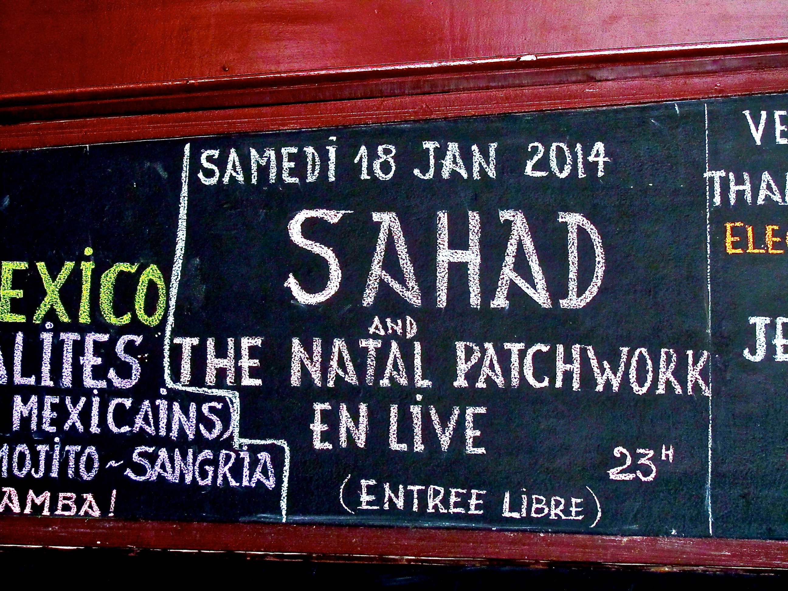 Concert announcement for Sahad and the Natal Patchwork at Charly Bar